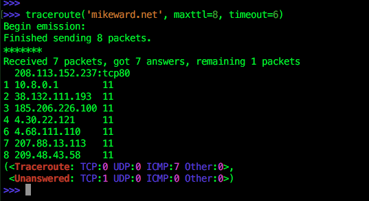 traceroute in scapy